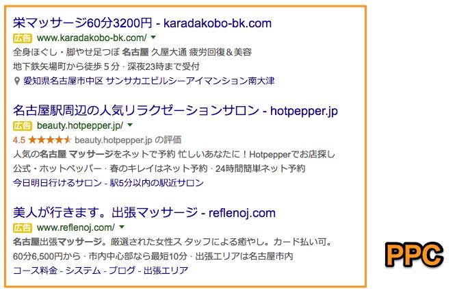 「名古屋マッサージ」で検索した時のPPC広告を表示