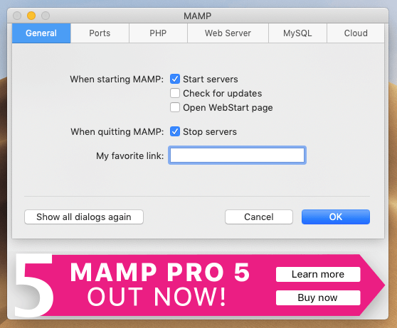 MAMPの環境設定画面