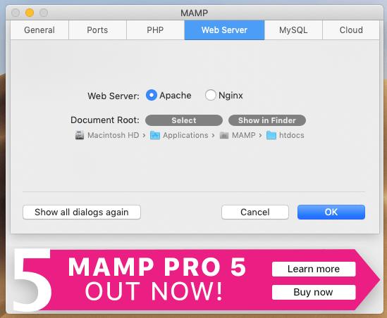 MAMPのWeb seversの設定