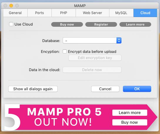 MAMPのCloudの設定