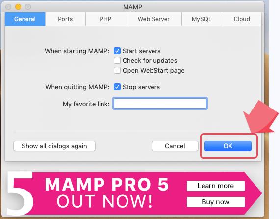MAMP設定のOKをクリック