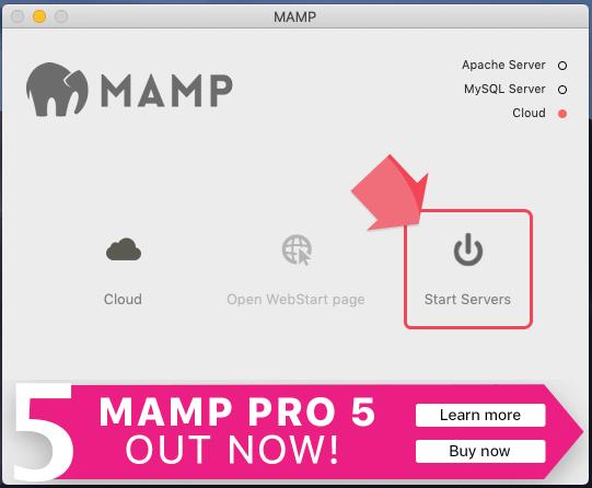 MAMPのスタートボタンをクリック