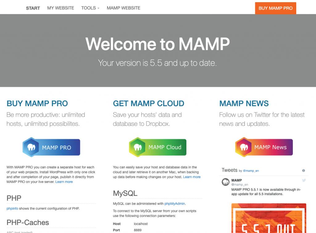 MAMPのスタートページ