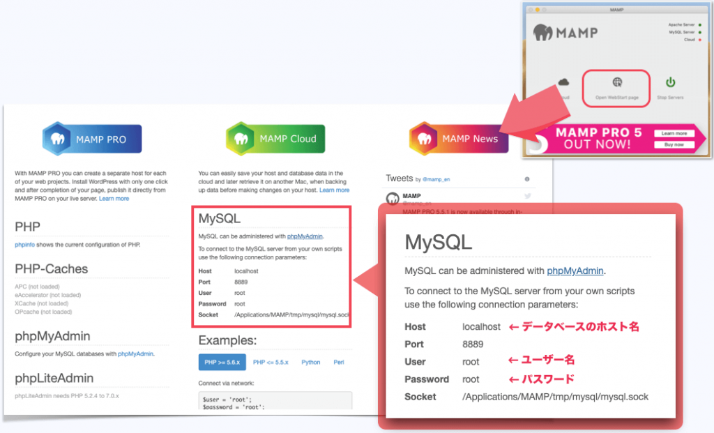 MAMPのMySQLの確認